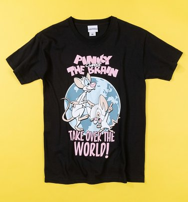 Pinky And The Brain Take Over The World Black T-Shirt
