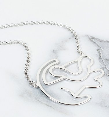 Platinum Plated Simba Outline Lion King Necklace