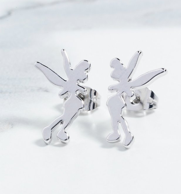 Platinum Plated Tinker Bell Silhouette Stud Earrings