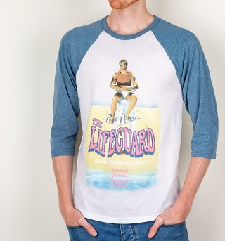 Point Horror Inspired The Lifeguard White And Blue Raglan Baseball T-Shirt
