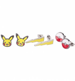 Pokemon Set Of Three Stud Earrings