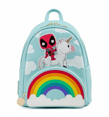 Pop by Loungefly Marvel Deadpool 30th Anniversary Unicorn Rainbow Mini Backpack