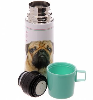 Pugs And Kisses Stainless Steel Flask