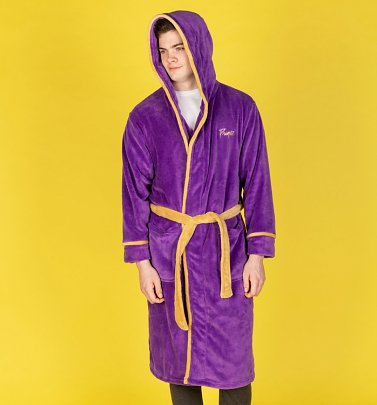 Purple Fleece Prince Hooded Bath Robe