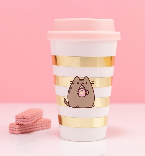 Pusheen Gold Stripe Travel Mug