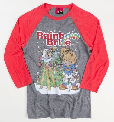 Rainbow Brite Christmas Tree Heather Grey And Red Raglan Baseball Shirt