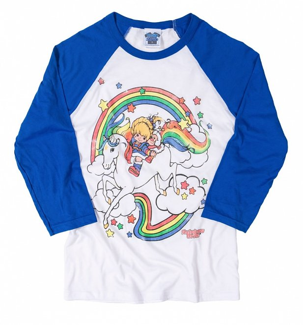 Rainbow Brite Clouds White And Blue Raglan Baseball T-Shirt