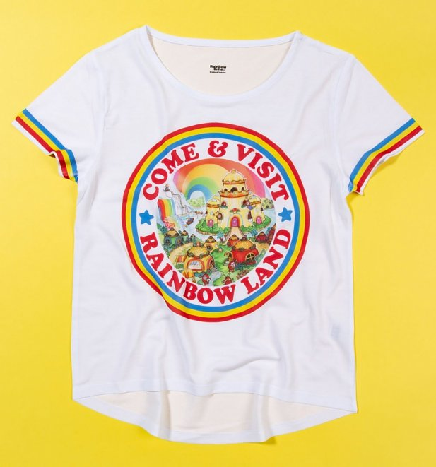 Rainbow Brite Come And Visit Rainbow Land Dipped Hem T-Shirt