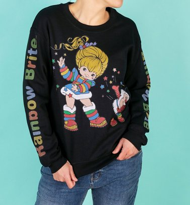 Rainbow Brite Logo Sleeve Print Black Sweater