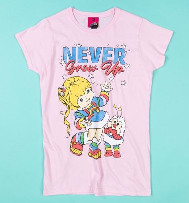 Rainbow Brite Never Grow Up Light Pink Fitted T-Shirt