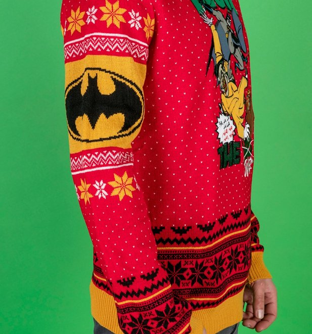 Red DC Comics Batman Deck The Halls Knitted Christmas Jumper