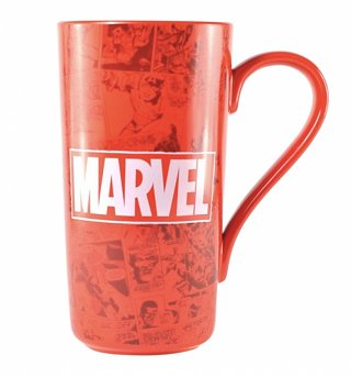 Red Marvel Comics Logo And Print Latte Mug