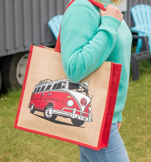 Red VW Camper Van Jute Bag