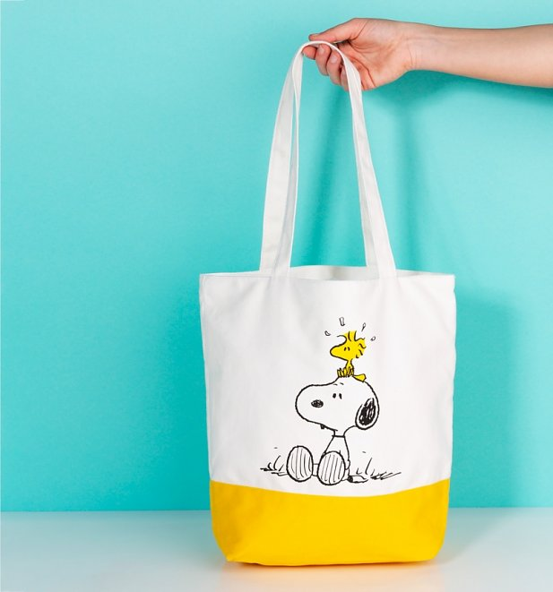 Retro Peanuts Snoopy and Woodstock Canvas Tote Bag