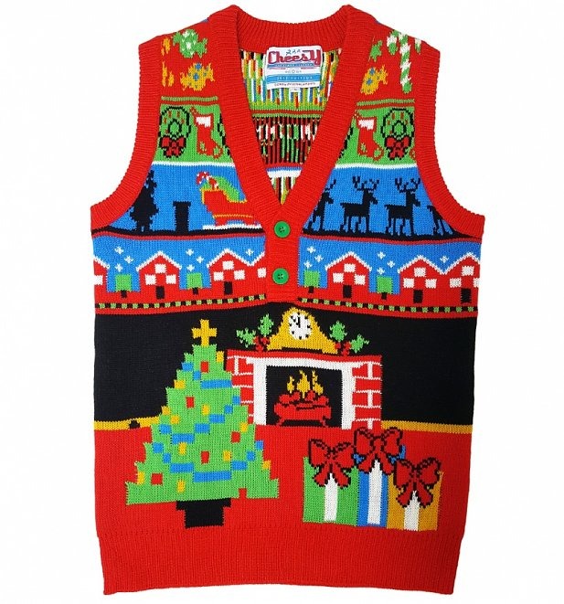 Retro Twas The Night Before Christmas Knitted Tank from Cheesy Christmas Jumpers