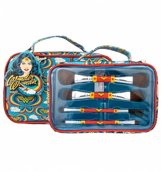 Retro Wonder Woman Cosmetics Brush Set In Wash Bag
