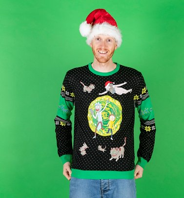 Rick And Morty Portal Knitted Christmas Jumper with Pin Badge
