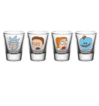 Rick and Morty Characters Set Of 4 Shot Glasses