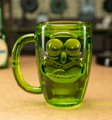 Rick and Morty Pickle Rick Glass Stein