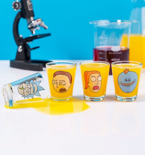 Rick and Morty Set of 4 Shot Glasses