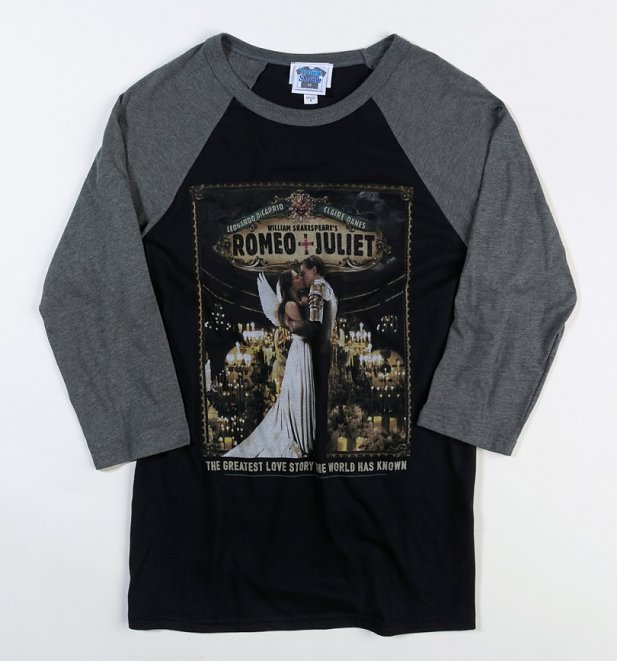 Romeo And Juliet Kiss Black And Grey Raglan Baseball Shirt