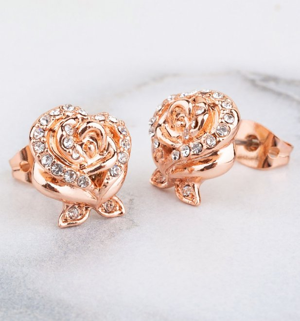 Rose Gold Plated Beauty & The Beast Enchanted Rose Crystal Stud Earrings