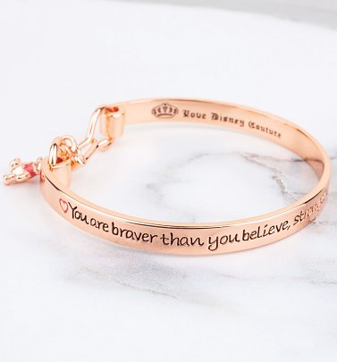 Rose Gold Plated Braver Than You Believe Winnie The Pooh Bangle from Couture Kingdom