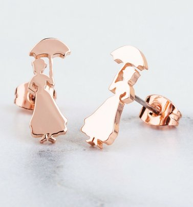 Rose Gold Plated Mary Poppins Stud Earrings from Disney by Couture Kingdom