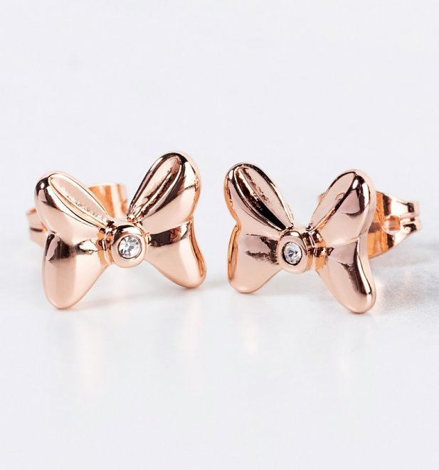 Rose Gold Plated Minnie Mouse Bow Stud Earrings With Crystals