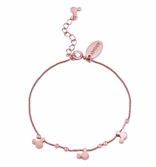 Rose Gold Plated Minnie Mouse Heads Charm Bracelet from Disney Couture