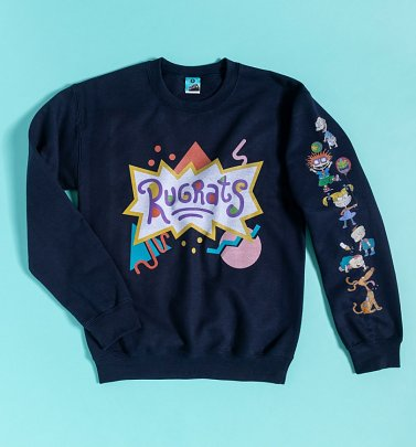 Rugrats Logo Navy Sweater With Sleeve Print