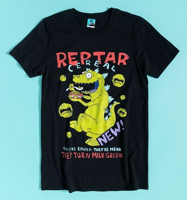 Rugrats Reptar Cereal Black T-Shirt