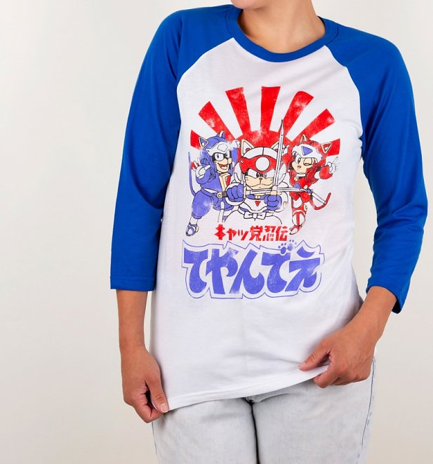 Samurai Pizza Cats White and Royal Blue Raglan Baseball T-Shirt