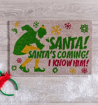 Santa's Coming Elf Door Mat