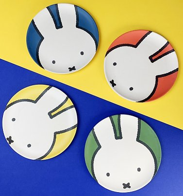 Set of Four Miffy Head Bamboo Plates
