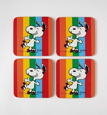 Set of Four Peanuts Snoopy Let The Good Times Roll Rainbow Coasters