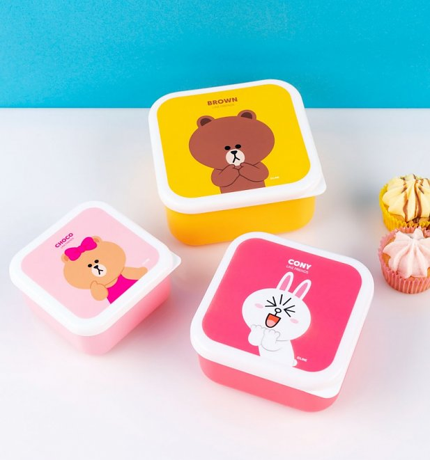 Set of Three Line Friends Snack Boxes