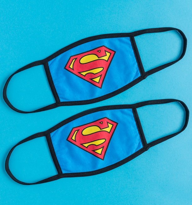Set of Two Superman Logo Face Masks