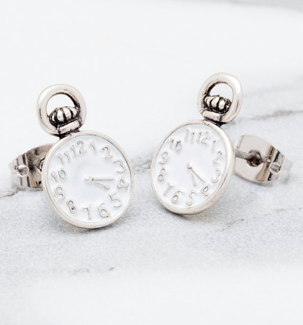 Silver Plated Alice in Wonderland Pocket Watch Stud Earrings