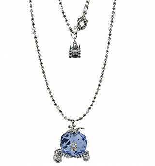 Silver Plated And Crystal Cinderella Carriage Pendant Necklace from Disney Couture