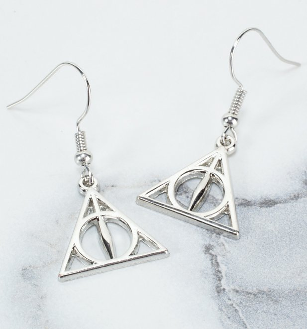 Silver Plated Harry Potter Deathly Hallows Drop Earrings