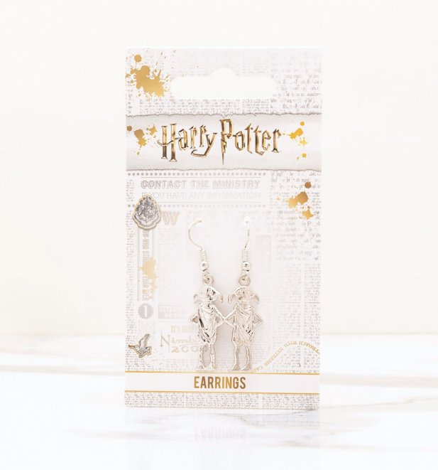 Silver Plated Harry Potter Dobby The House Elf Drop Earrings