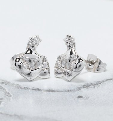White Gold Plated Hercules Muscle Stud Earrings