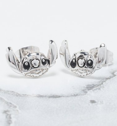 White Gold Plated Lilo & Stitch Stud Earrings