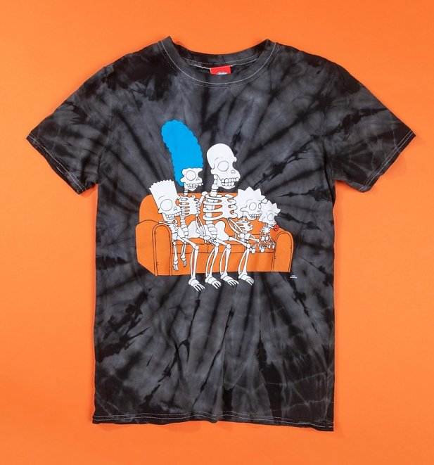 Skeleton Simpsons Black Tie Dye T-Shirt