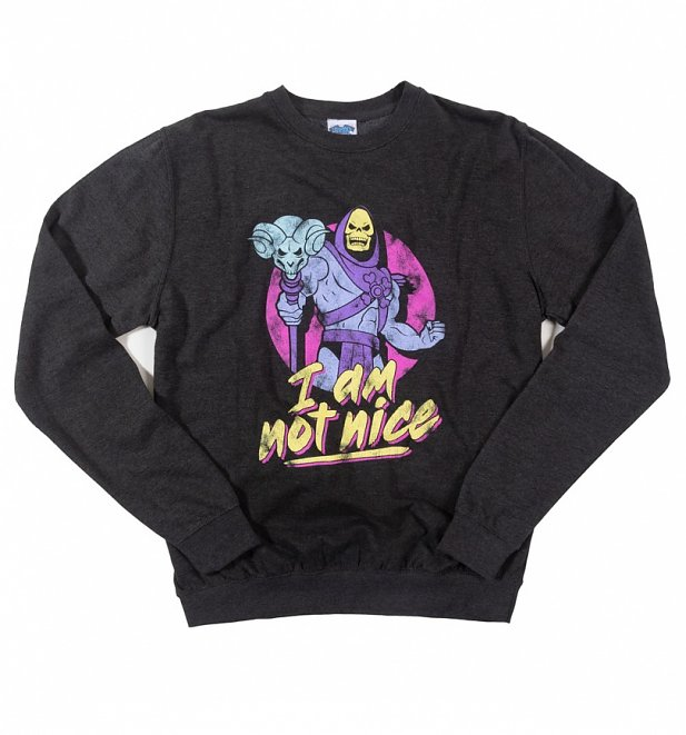 Skeletor I Am Not Nice Black Heather Sweater