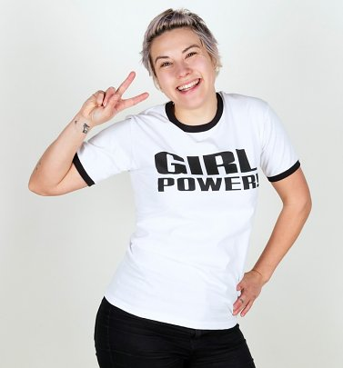 Spice Girls Inspired Girl Power White And Black Ringer T-Shirt
