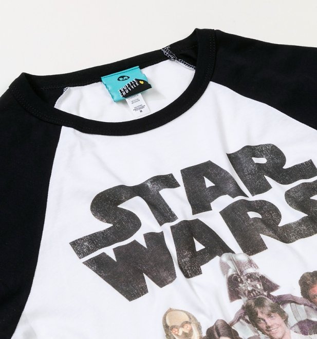 Star Wars Group Shot White And Black Baseball Shirt