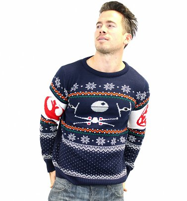 Star Wars Tie Fighter Vs X-Wing Fighter Fair Isle Pullover gestrickt