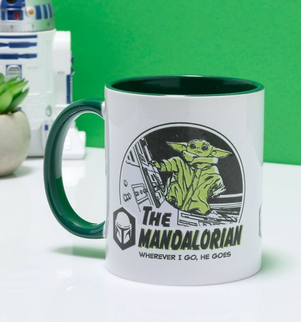 Star Wars The Mandalorian Wherever I Go He Goes Baby Yoda Mug with Green Handle